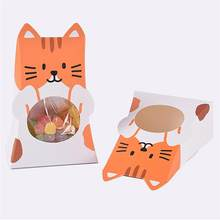 Foldable Candy Boxes Cartoon Cat Paper Baking Biscuits Packing Boxes Cookie Candy Container DIY Gift Box Sweet Case Supplies(China)