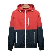 Windbreaker Men Casual Spring Autumn  Splice Jacket Lightweight Jacket 2019 New Arrival Hooded Contrast Color Zipper Up Jackets