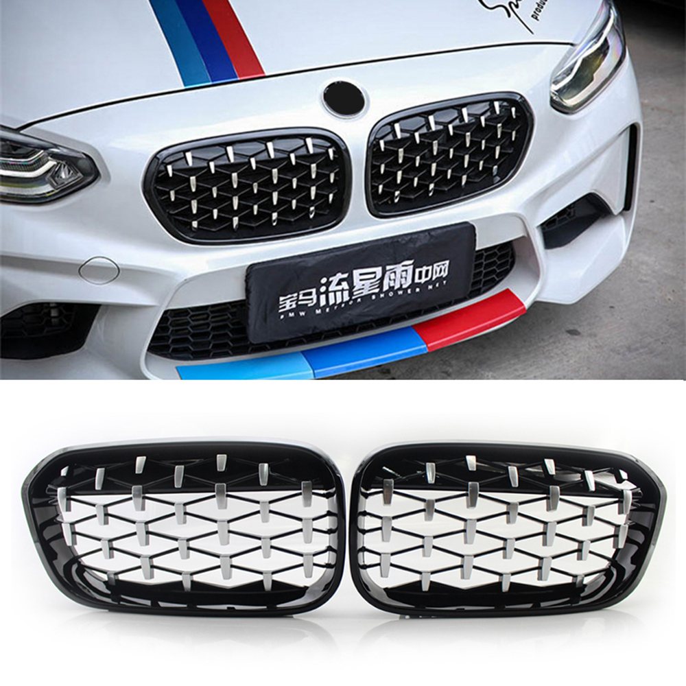 A Pair Chrome Diamond <font><b>Grill</b></font> Car Front Grille For BMW E87 E90 E91 E92 E93 F20 F21 F30 F34 F35 E60 F10 F18 <font><b>G30</b></font> G38 F45 F46 F32 F33 image