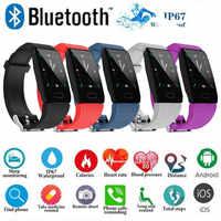 Q1 pulsera inteligente IP67 impermeable Passometer presión arterial Frecuencia Cardíaca Monitor de dormir sedentario recordatorio reloj de pulsera