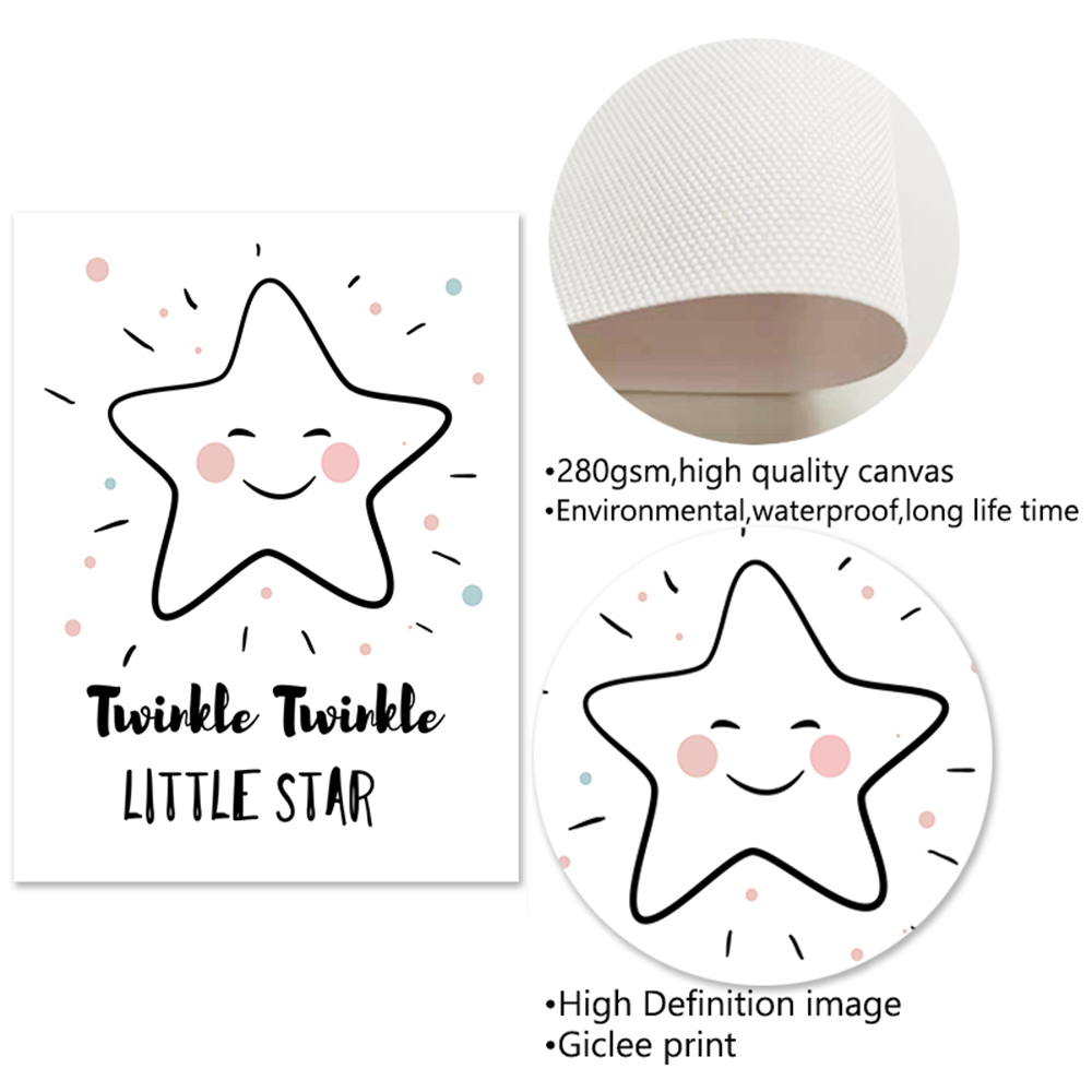 Cute Moon Star Nursery Wall Art Rabbit Canvas Posters Prints Cartoon Painting Nordic Kids Decoration Picture Baby Bedroom Decor