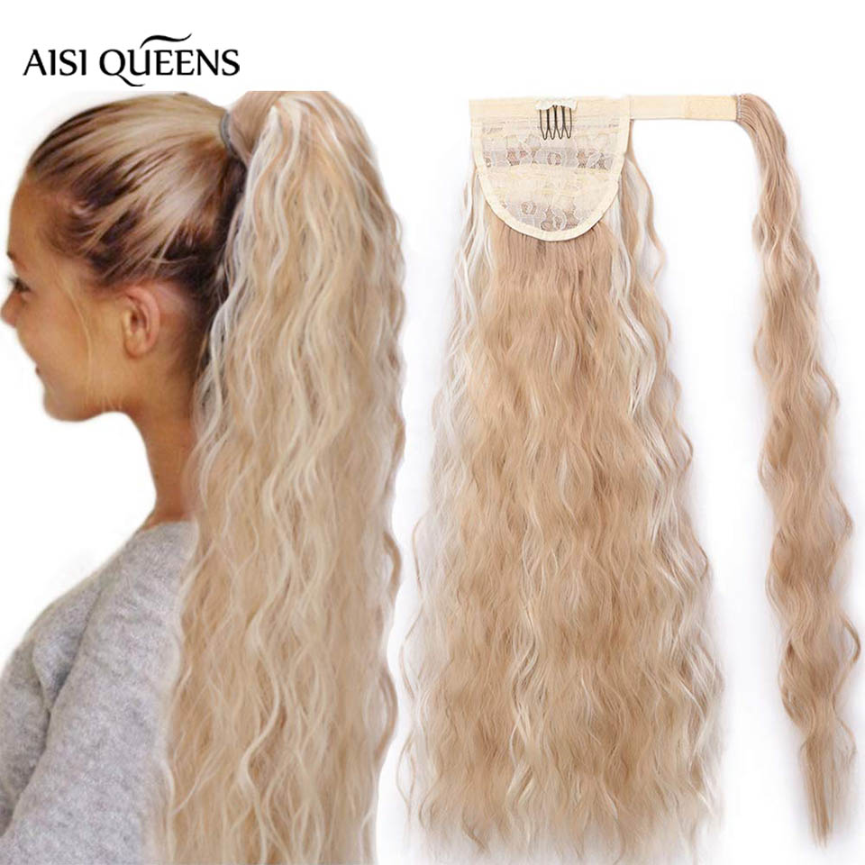 AISI QUEENS  Synthetic Long Curly Ponytail Natural Wrap On Clip Hair Extensions For Women Hair Horse Tail Hair Piece