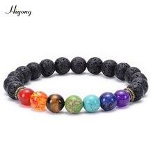 HIYONY 7 Чакра браслет мужской черный матовый Лава Исцеление баланс бусины рейки Будда молитва браслет для йоги из натуральных камней для женщин