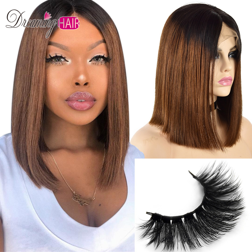 Short Bob Glueless 13*4 Lace Front Human Hair Wigs Ombre 30 Color 150 Density Red Brazilian Remy Hair Wigs Pre Plucked