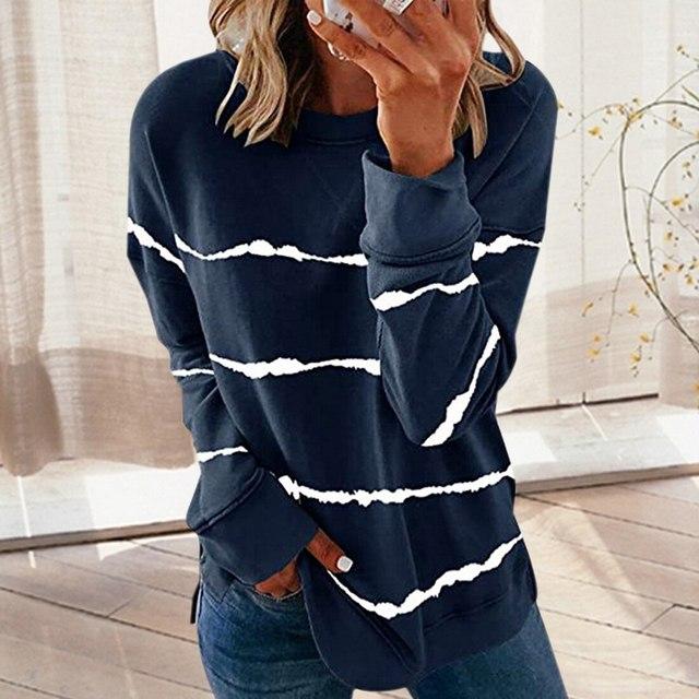 Striped Print Long Sleeve Black Hoodies Women 2020 Big Size 5XL Casual Tee Black Autumn Top O-Neck Loose Sport Ladies Hoodies 5