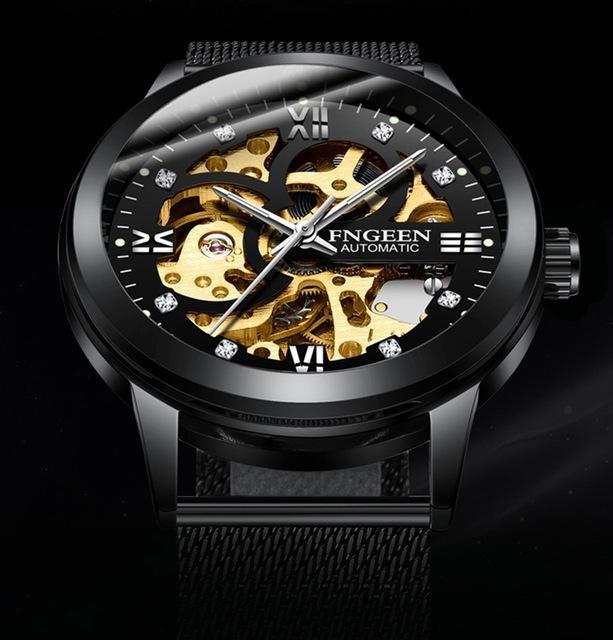 Fashion FNGEEN Men Skeleton Automatic Mechanical Watch Men Stainless Steel Sport Business Wristwatch Relogio Masculino