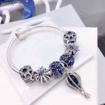 store high quality 1:1 100% 925 silver sterling hot air balloon pendant frisky snow flake free charter bracelet