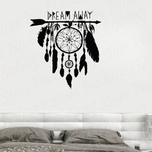 Dreamcatcher Wall Sticker Vinyl Decal Dream  Amulet Feathers Night Symbol Indian Stickers Bedroom Livingroom Mural WL1735 arrow wall decal dreamcatcher vinyl wall sticker bohemian design bedroom decor dream catcher feathers symbol wall mural ay1451