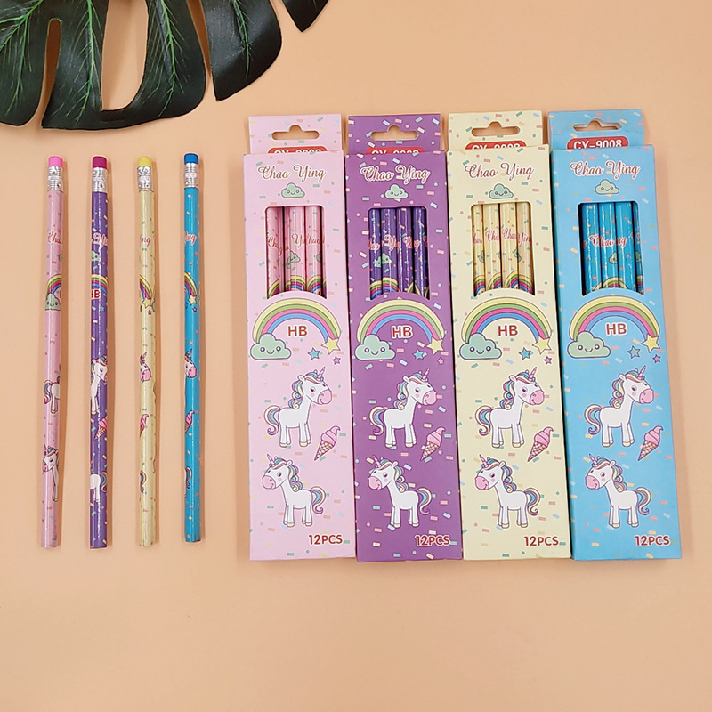 12 Pcs/set Cute Kawaii Cartoon Unicorn Pencil HB Sketch Items Drawing Stationery Student School Office Supplies For Kids Gift