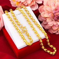 Fashion Men's Necklace 14K Gold Non Fading Smooth Chain Necklaces Delicate Wheat Design Necklace for Wedding Engagement Jewelry