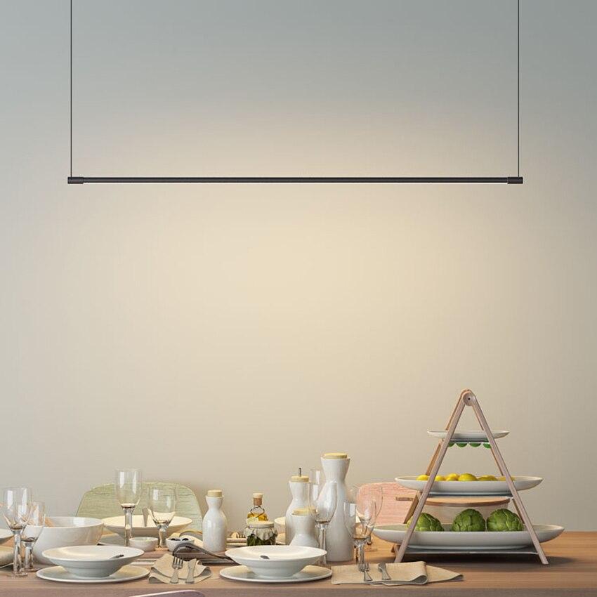 Скандинавский дизайнер светодиодный подвес полоска освещение затемняемый акриловый абажур подвесные светильники для ресторана бар Домаш
