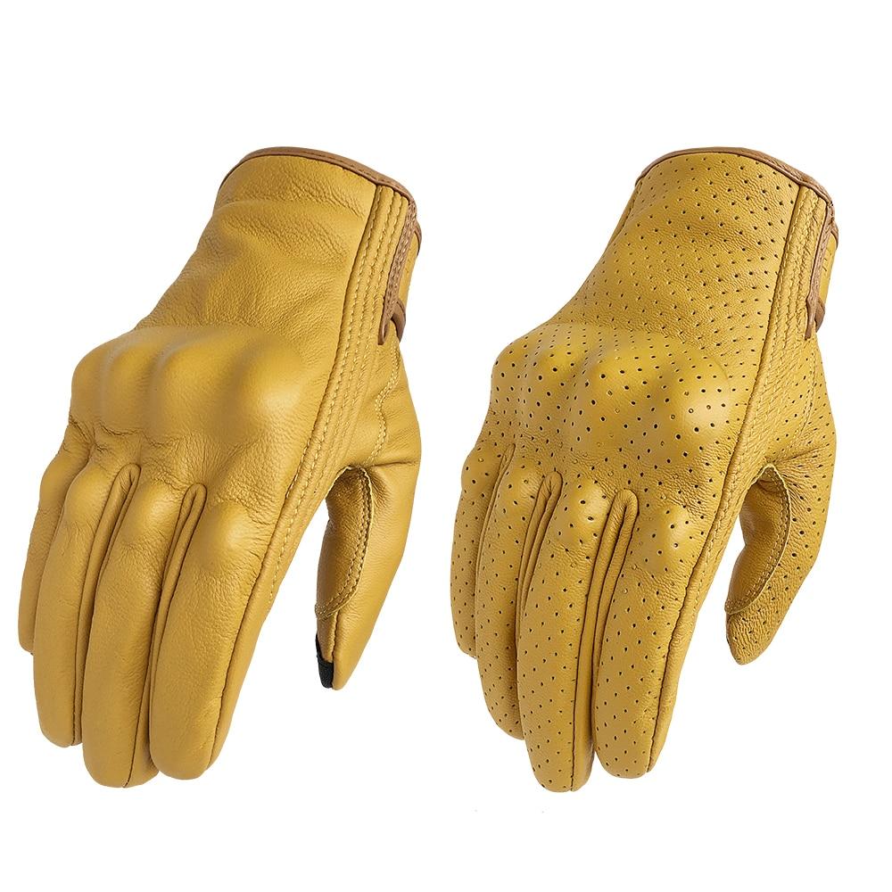 Motorcycle Gloves Touch Screen Leather Yellow Tactics Glove Men Women Bike Cycling Full Finger Motorbike Motor Motocross Luvas
