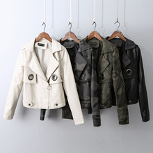 Autumn Women PU Faux Leather Jacket Long Sleeve Zipper Short Coat Camouflage Solid Motorcycle Outerwear Fashion Classic 4 Colors