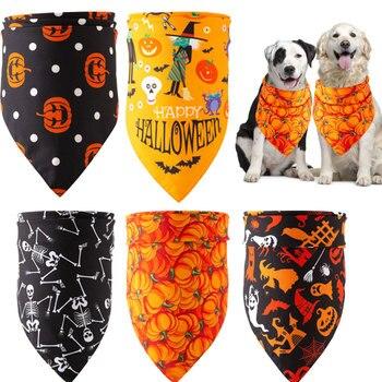 Halloween Dog Bandana Cotton Scarf Bib Grooming Accessories Triangular Bandage Collar for Small Medium Large Pet Fashion Design