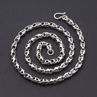925 Sterling Silver Necklace Thai Silver Vintage 6mm Thick Heavy Love Bamboo Chains Necklace Christmas gifts For Man