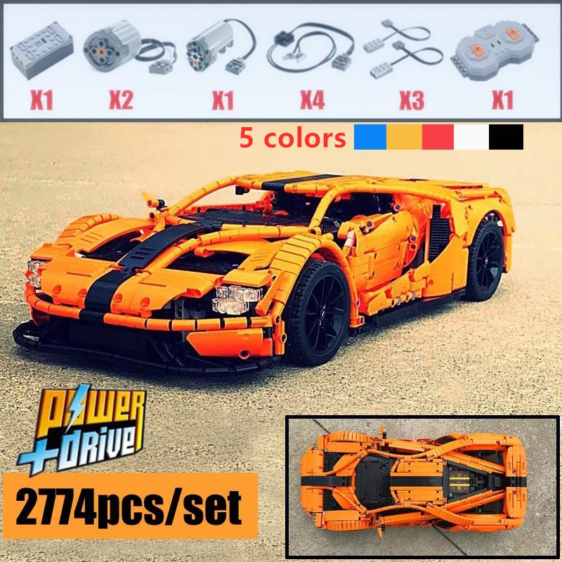 NEW MOC FORD GT  Sport Car Fitlegoings MOC-10792 RC Engine Power Function Vehicle Fit Building Block Bricks Model Kid Toy Gifts