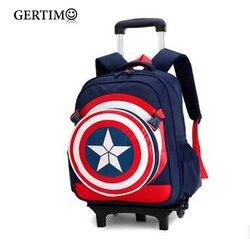 Captain America Superhero Children's Boy's Elementary Travel Trolley Bags for School Kit Backpack Wheeled Bag Rolling Backpacks