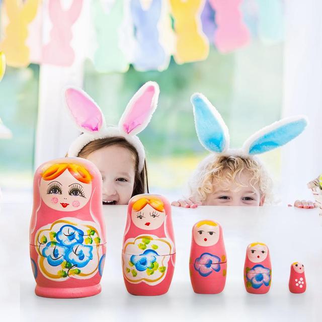 5pcs Wooden Novelty Russian Nesting Matryoshka Doll Set Hand Painted Decor Russian Nesting Dolls Baby Toy Girl Doll wholesale 2