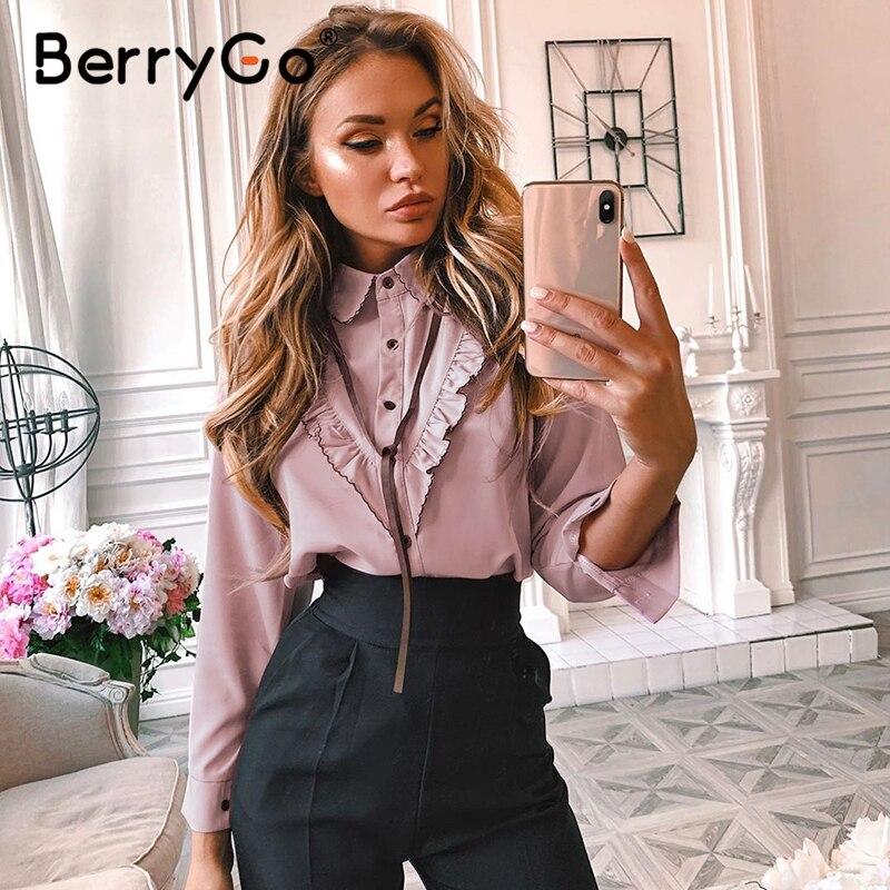 BerryGo Casual Pink Women Office Blouse Shirt Long Sleeve Tie Up Elegant Tops Female OL Ruffle Work Wear Summer Blouses Blusas