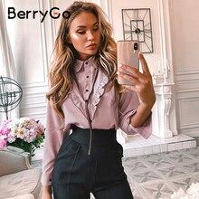 BerryGo Casual pink women office blouse shirt Long sleeve ti