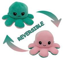 Симпатичная мягкая двухсторонняя имитация осьминога, кукла для детей, рождественский подарок, двухсторонняя флип-плюшевая игрушка с живот...