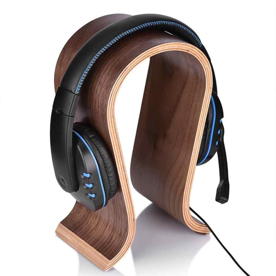 U 形の木製木製ヘッドホンイヤホンスタンドハンガーブラケット陳列棚ラック H プロフェッショナル向けイヤホンアクセサリー
