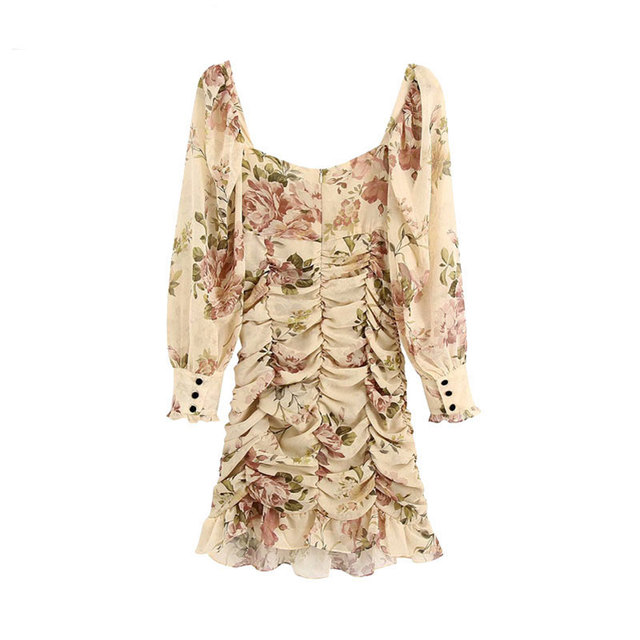 High Quality Women 2021 Fashion Floral Print Ruffled Draped Mini Dress Vintage Lantern Sleeve Back Zipper Female Dresses Vestido 2