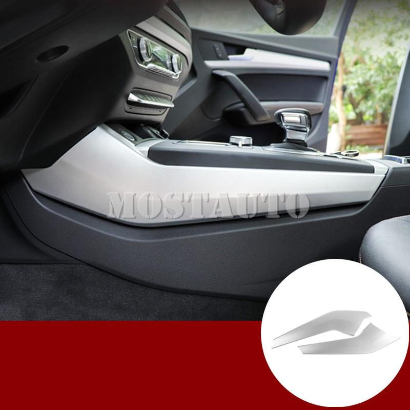 For Audi Q5 Interior Center Console Gear Box Edge Cover Trim 2017-2020 2pcs Black/Silver