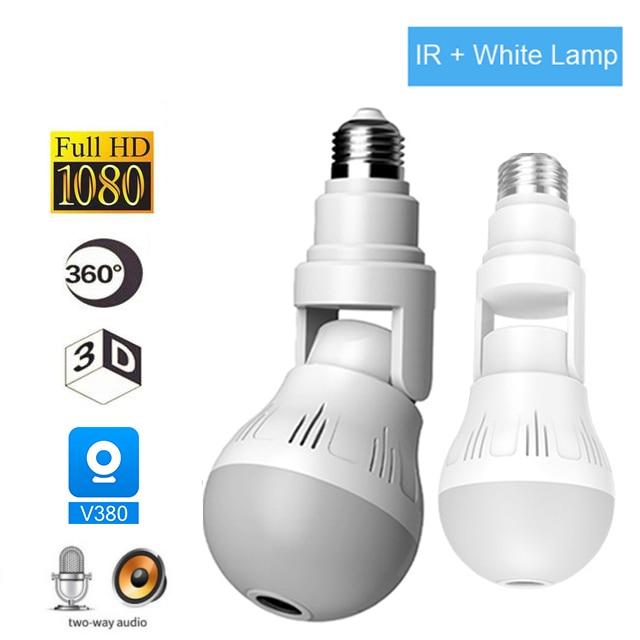 Cámara IP Wifi bombilla lámpara de luz inalámbrico 1080P Full HD 360 grados panorámica IR luz Video de seguridad CCTV vigilancia
