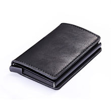 ZOVYVOL 2020 New PU Leather Metal Single Box Credit Card Holder Card Case Women and Men RFID Wallets Vintage Business ID Holder(China)