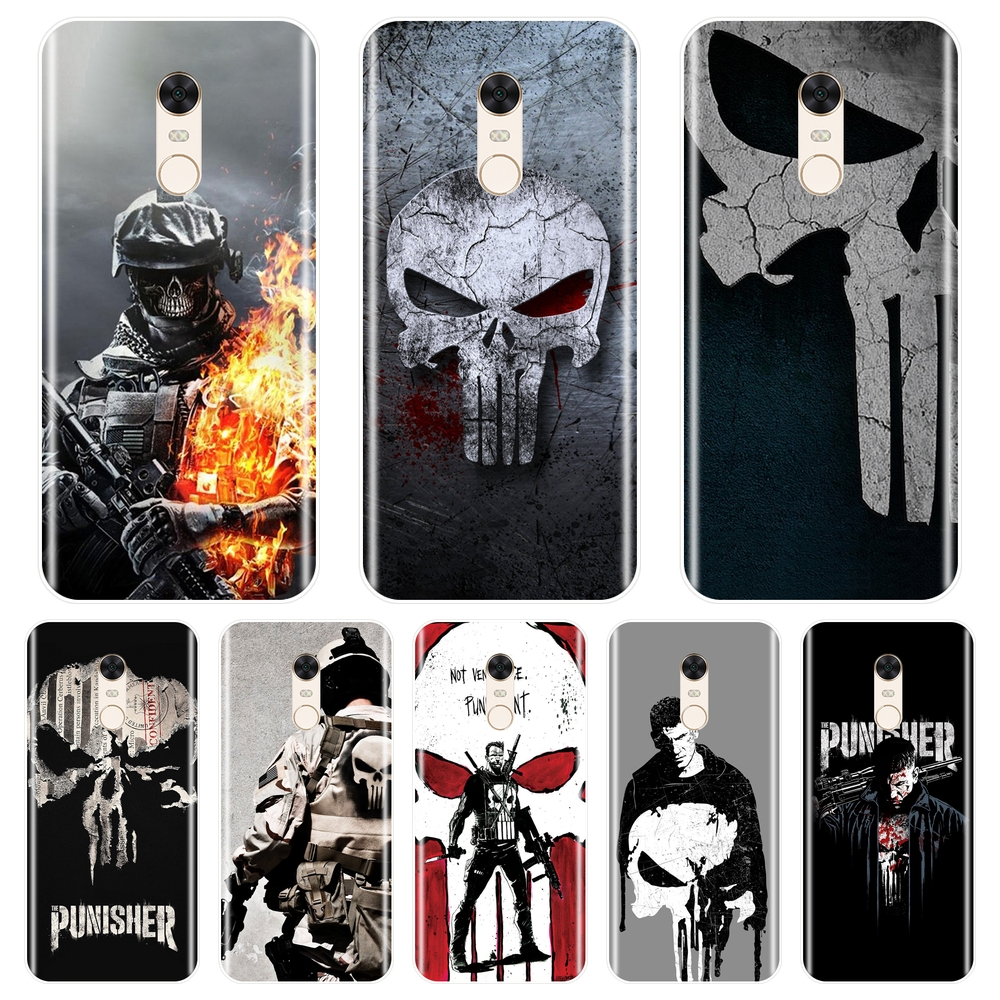 Punisher Silicone Phone Case For Xiaomi Redmi S2 4 4A 4X 5A 6 6A 5 Plus Pocophone F1 Redmi Note 4 4X 5 5A 6 Pro Prime Back Cover image