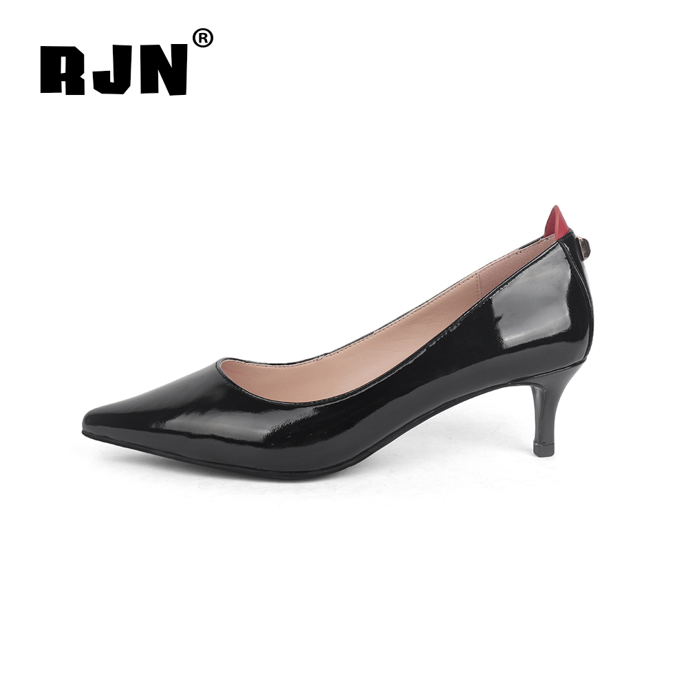 Hot Sale RJN Sexy Pointed Toe Women Pumps Patent Leather Back Matel Decoration Thin High Heel Fashion Slip-On Shallow Well Shoes New R04