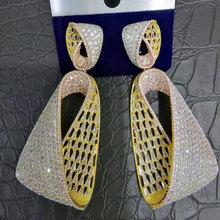 GODKI pendientes largos de circón cúbico de gota de agua para mujer, aretes colgantes de zirconia cúbica para boda, aretes de gota de Dubái para mujer 2018