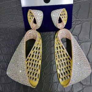 Image 1 - Женские длинные висячие серьги GODKI, роскошные серьги в форме капли воды с фианитами, свадебные серьги Дубая, 2018