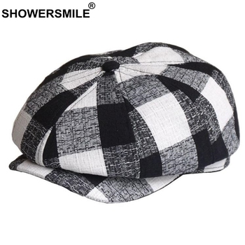 SHOWERSMILE Man Hat Summer Newsboy Cap Linen Spring Flat British Style Black White Plaid Vintage Male Octagonal