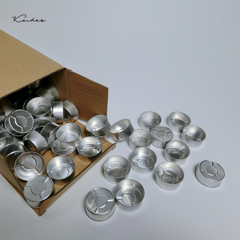 100Pcs Aluminum Tealight Candle Holders Empty Candle Cups For  DIY Candle Making  With 100 Pcs Candle Wick