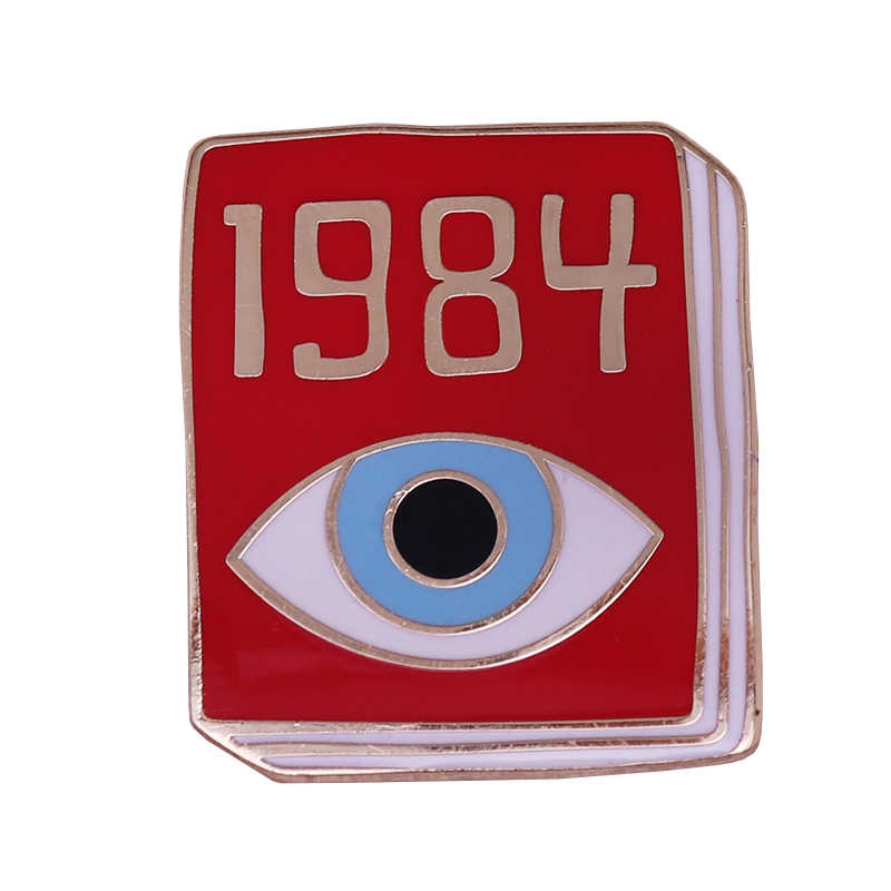 책 핀: 1984 George Orwell dystopian 문학 쥬얼리 beautiful shiny shirt jacket accessory