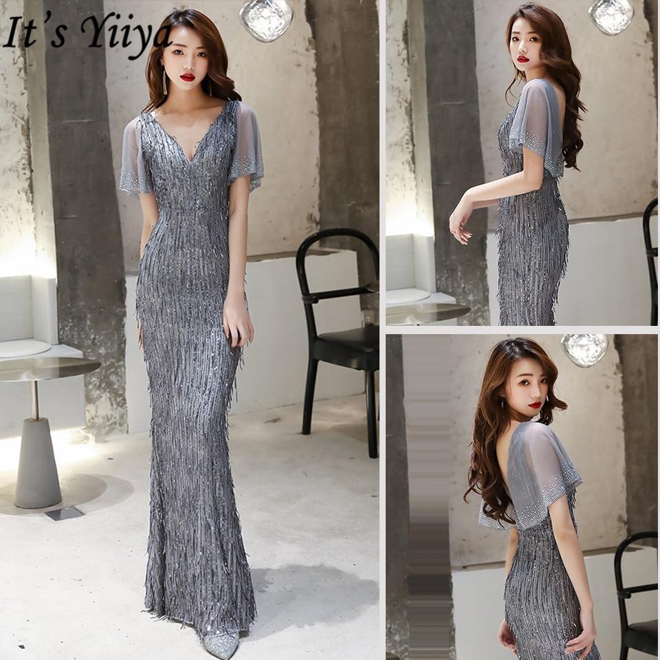 It's Yiiya Mermaid Dress V-Neck Floor-Length Plus Size Zipper Robe De Soiree K030 Short Sleeve Sequined Pleat Dress Woman Party