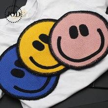 Круглое лицо голова улыбка патчи для одежды шьют на значки вышивка патч наклейки аппликация одежда рюкзак куртка шить
