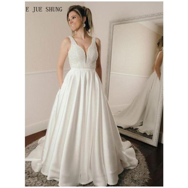 E JUE SHUNG Fashion Pockets Wedding Dresses V Neck Backless Sleeveless A Line Wedding Bridal Gowns Vestido De Novia