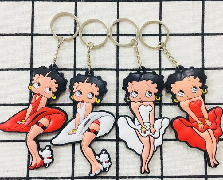 Free Shipping 10pcs Cartoon Betty Boop Pvc Double Sided Women Lovely Charms Pendants Key Chain Keychains Party Toy Kids Gifts