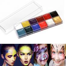 12 цветов, краска для лица, масляная краска, макияж, набор, набор, Хэллоуин, вечерние, боди-арт, краска для тела, макияж
