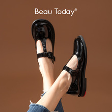 Flats Lolita Shoes Toe-Buckle Beautoday Women Mary Janes T-Strap Handmade Casual Ladies