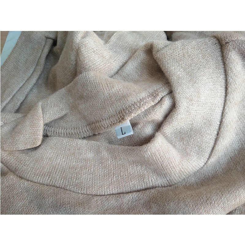 Musim Gugur Musim Dingin Hangat Lengan Panjang Wanita Rajutan Sweter Gaun Putih Turtleneck Sweater Pullover Jumper Pakaian Wanita
