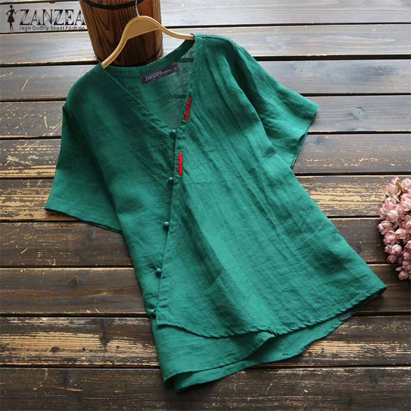 ZANZEA Summer Cotton Linen Blouse Women Vintage V Neck Short Sleeve Shirt Robe Femme Work Tunic Tops Chemise Solid Buttons Blusa