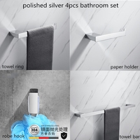 4pcs Chrome Bathroom Accessories Set Towel Bar Paper Holder Robe Hook Towel Ring Gold Bathroom Hardware Set Send From Brazil