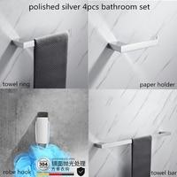 4pcs Chrome Bathroom Accessories Set Towel Bar Paper Holder Robe Hook Towel Ring Gold Bathroom Hardware Set Send From Brazil