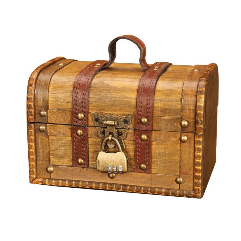 Wooden Jewellery Storage Box Case Holder Vintage Treasure Chest for Wooden Organizer