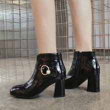 women ankle boots high heels pumps shoes woman  patent leather shiny pearls deco booties wxz106