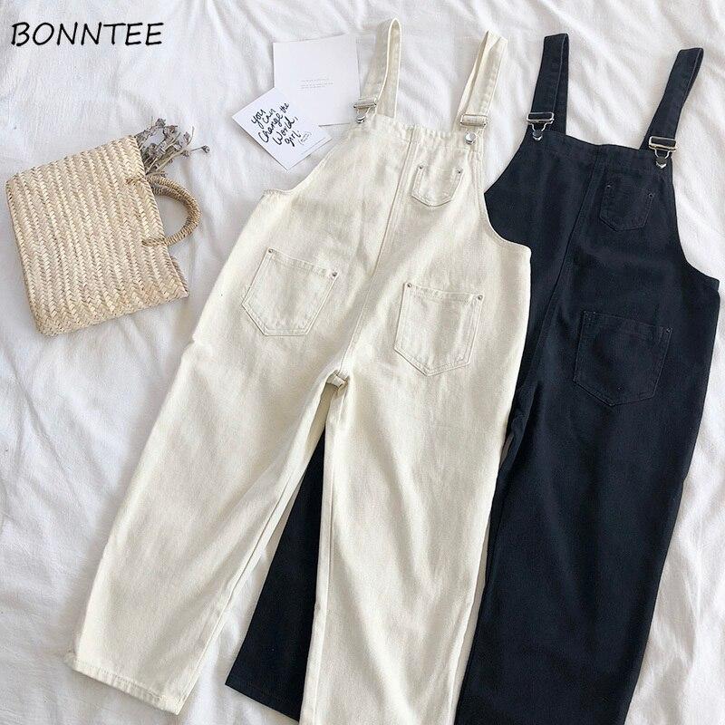 Jumpsuits Women 2020 Denim Simple Retro Cotton Loose Womens Pockets Ankle-length Pants Solid Leisure Korean Bodysuits Lovely